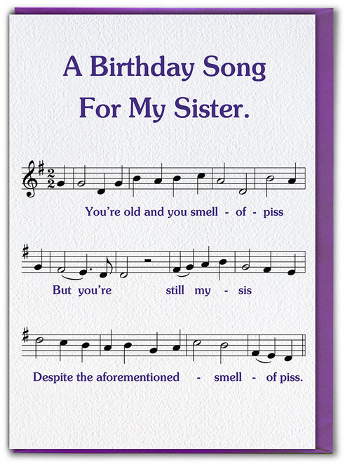 Sister Song Smell Of Piss Birthday Card