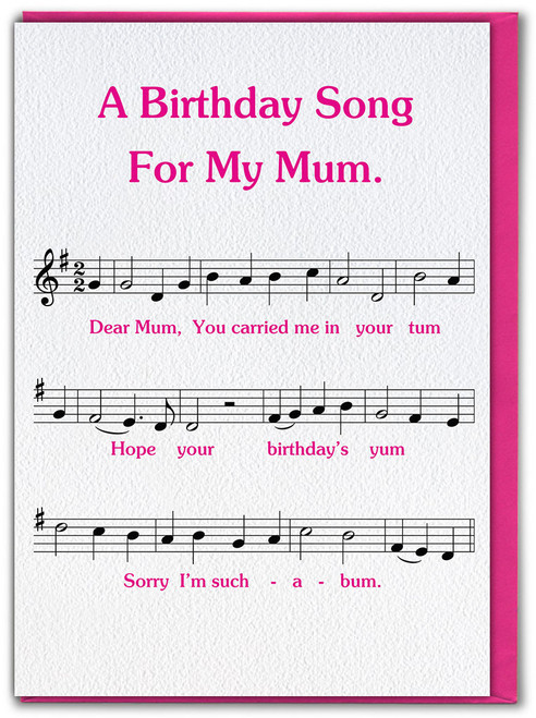 Song For Mum Birthday Card