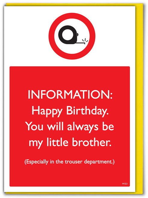 Brother Trouser Dept Birthday Card
