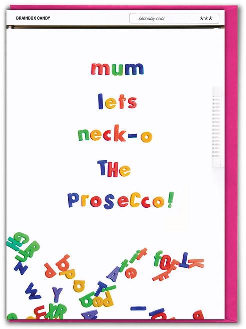 Mum Necko Prosecco Birthday Card