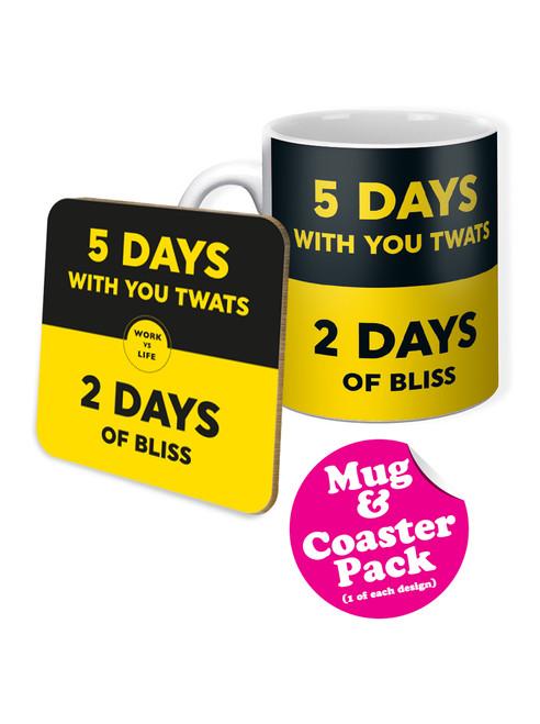 Work Vs Life Boxed Mug & Coaster Gift Set