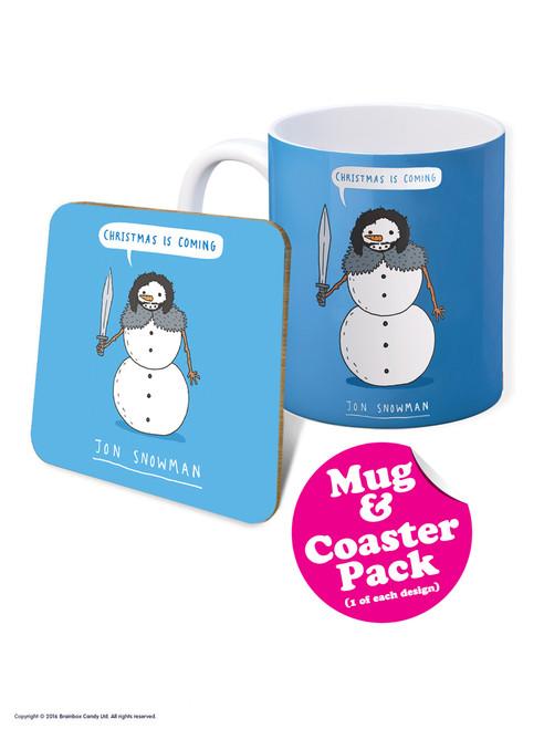 Christmas Is Coming Jon Snowman Boxed Mug & Coaster Gift Set