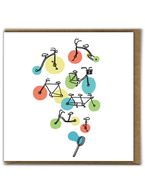 Riding Bubbles Birthday Greetings Card
