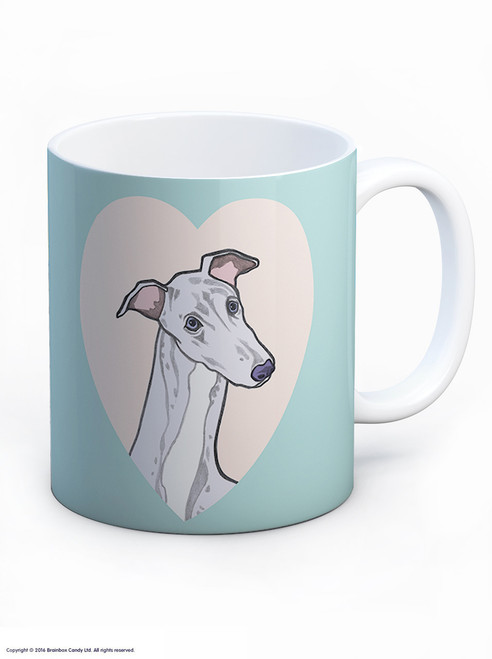 Cute Greyhound Heart Mug - UNBOXED