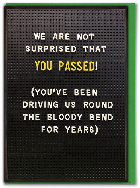 You Passed! Driving Test Card