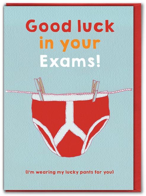 Exams Lucky Pants Good Luck Card