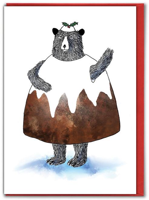 Bear Pudding Christmas Card