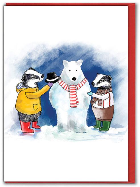 Snow Badger Christmas Card
