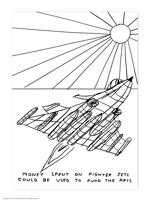 David Shrigley Fighter Jets Postcard