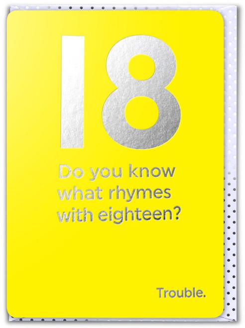 18th Birthday (Silver Foiled) Age Card