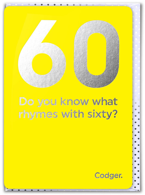 60th Birthday (Silver Foiled) Age Card