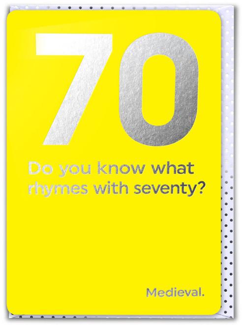 70th Birthday (Silver Foiled) Age Card