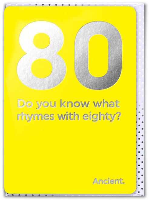 80th Birthday (Silver Foiled) Age Card