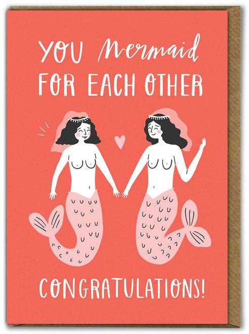 Mermaid For Each Other Same Sex Wedding Card