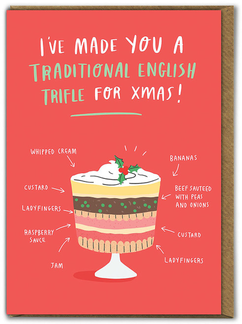 Traditional English Trifle Christmas Card