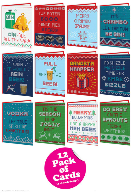 12 Pack of Funny Christmas Cards - Knitwit Range