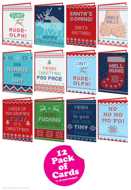 12 Pack of Rude Cheeky Christmas Cards - Knitwit Range