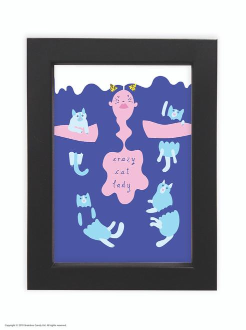 Fran Hooper  Blue Hair Crazy Cat Lady - Quality A3 / A5 Framed Print (Choice of Black or White Frame)