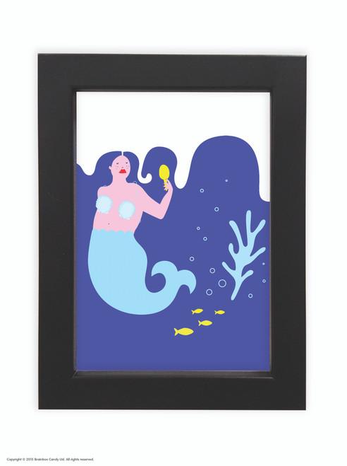 Fran Hooper  Blue Hair Mermaid  - Quality A3 / A5 Framed Print (Choice of Black or White Frame)