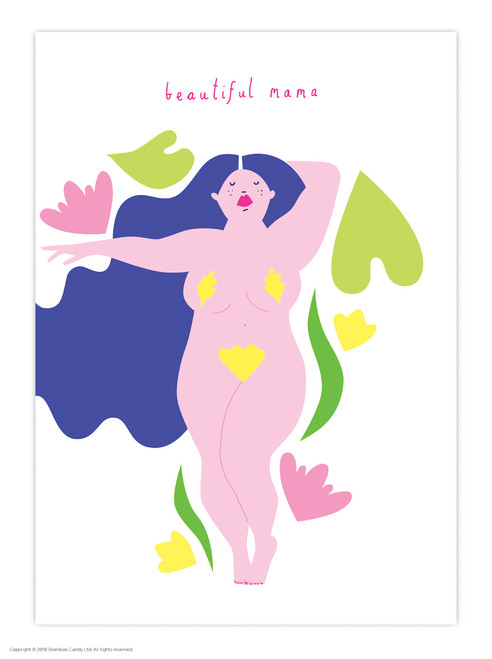 Blue Hair Beautiful Mama A3 Poster