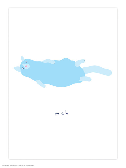 Blue Hair Cat Meh A3 Poster