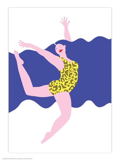 Blue Hair Leopard Print A3 Poster