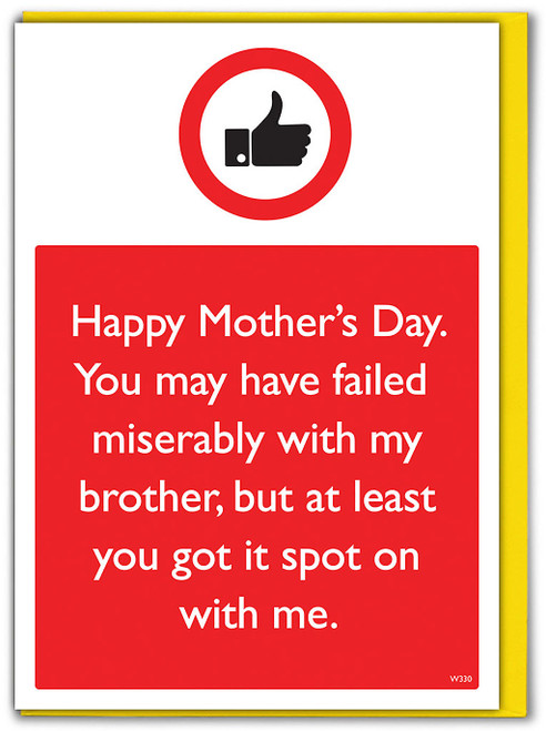 Brother Spot On With Me Mother's Day Card