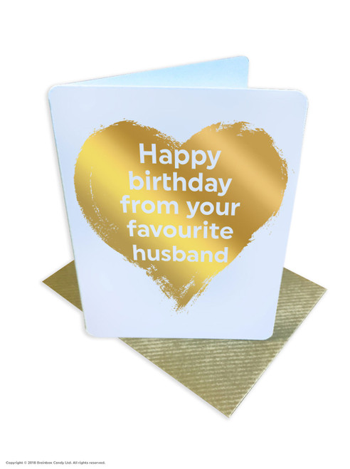 From Favourite Husband (Gold Foiled) Wife Greetings Card