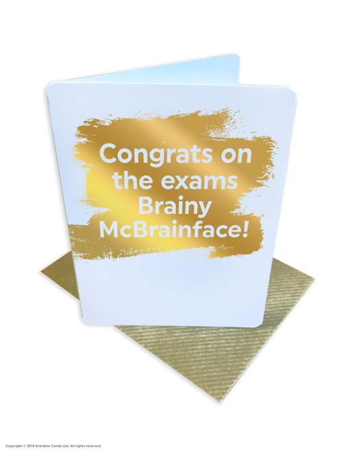 Brainy McBrainface (Gold Foiled) Congratulations Exams Card