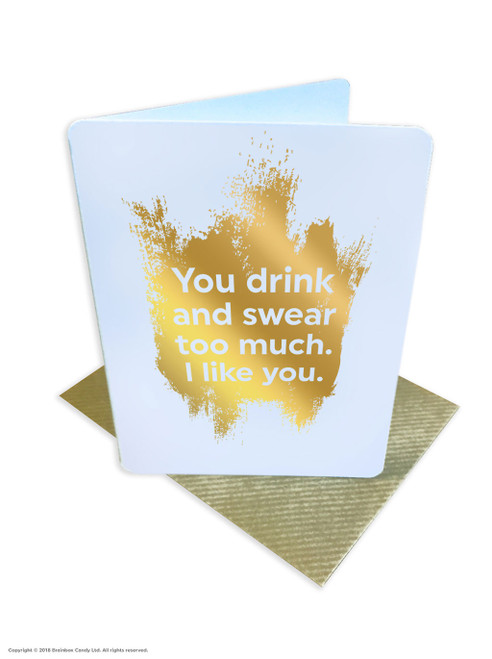Drink And Swear (Gold Foiled) Birthday Card