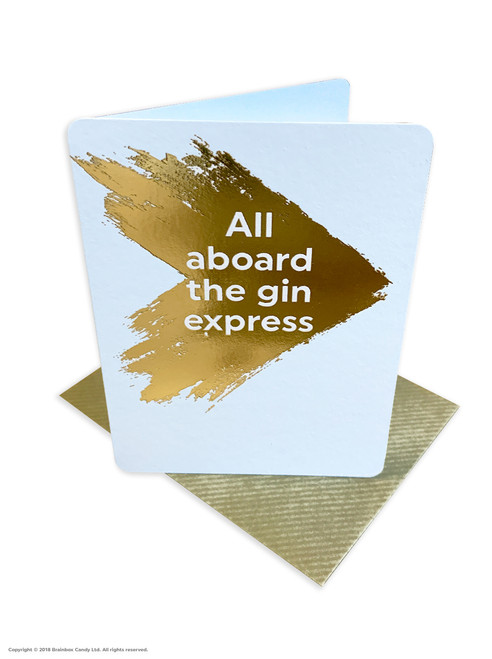 All Aboard Gin Express (Gold Foiled) Birthday Card
