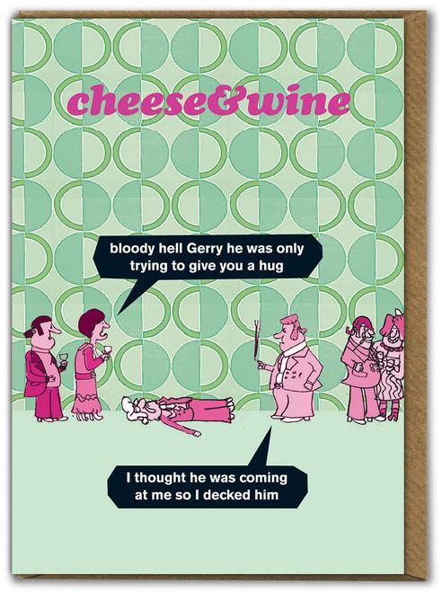Cheese & Wine Hug Card