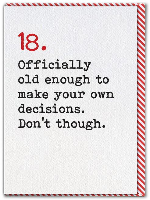 18 Age Typewriter Birthday Card
