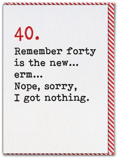 40 Age Typewriter Birthday Card