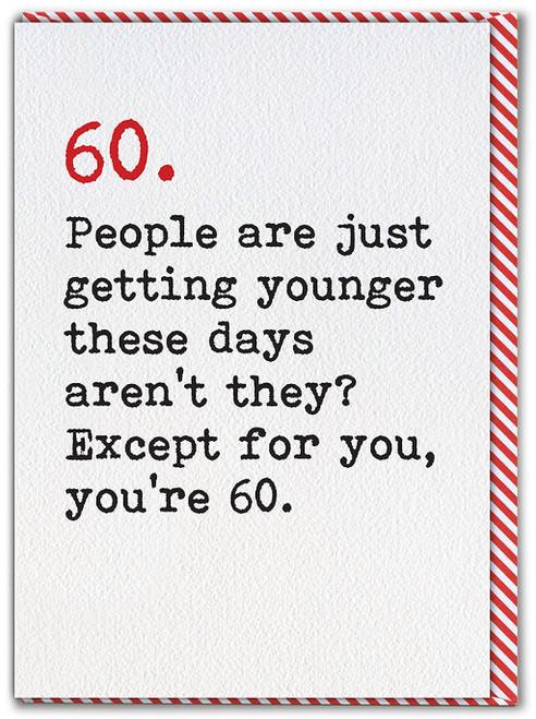 60th Age Typewriter Birthday Card