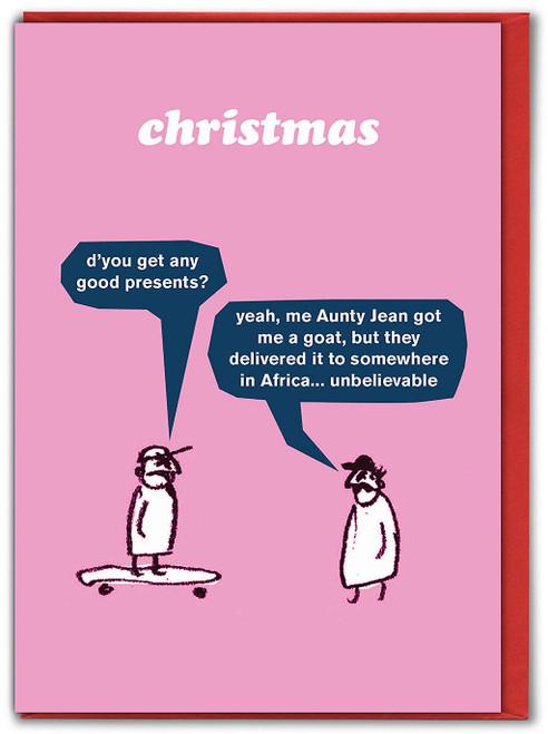 Goat Present Christmas Card