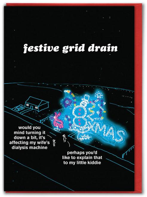 Festive Grid Drain Christmas Card