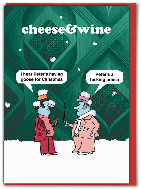 Cheese & Wine Goose Christmas Card