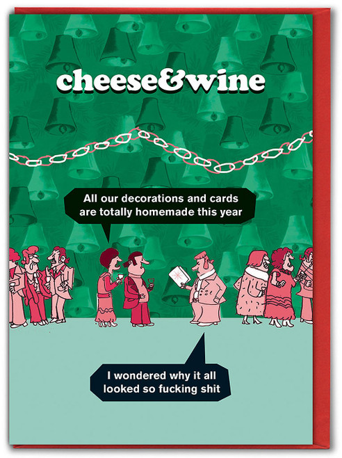 Cheese & Wine Decorations Christmas Card
