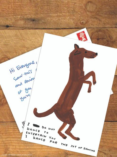 David Shrigley Dancing Dog Postcard