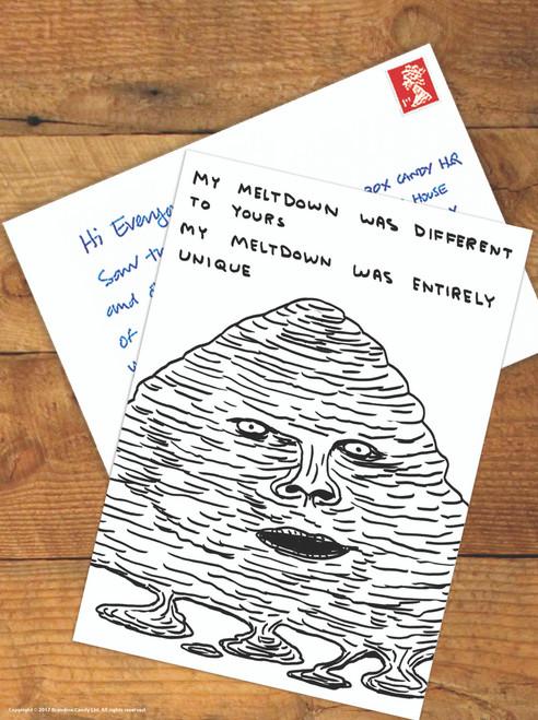David Shrigley Meltdown Postcard
