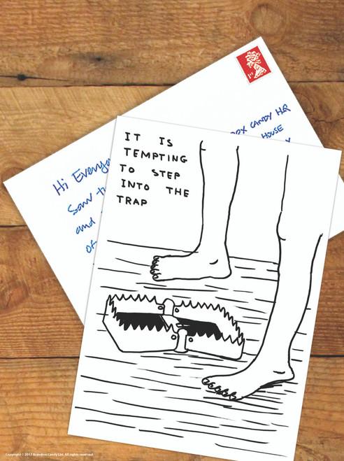 David Shrigley Step Into Trap Postcard