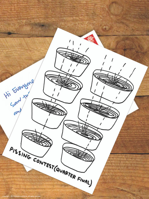 David Shrigley Pissing Contest Postcard