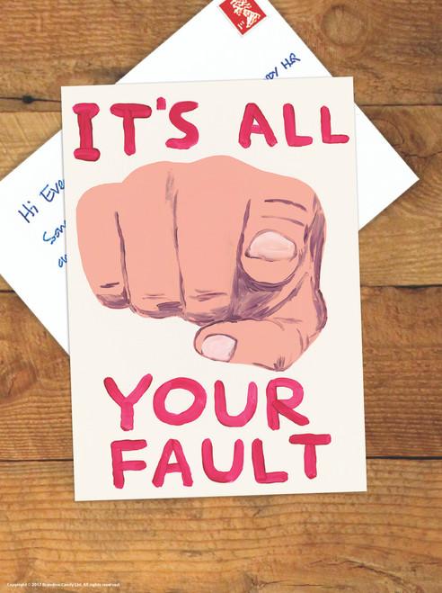 David Shrigley It's All Your Fault Postcard