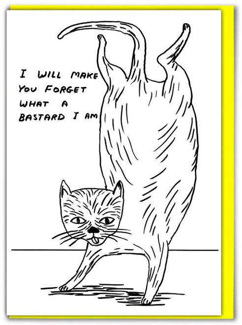 David Shrigley Bastard Cat Greetings Card