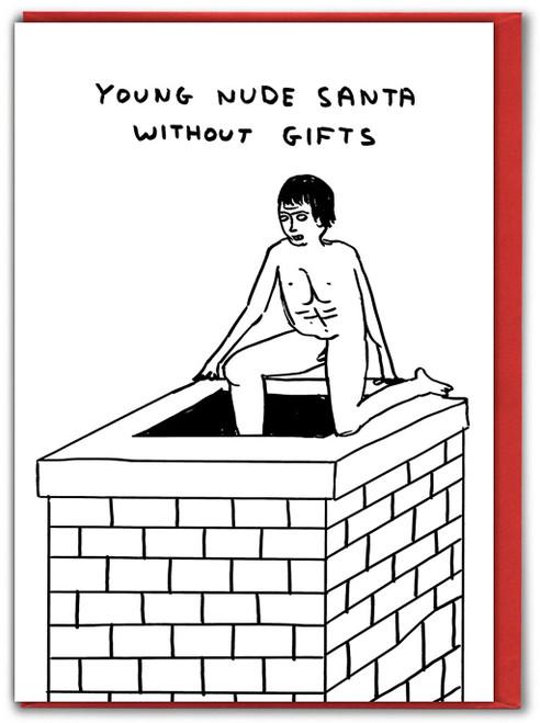 Young Nude Santa David Shrigley Christmas Card
