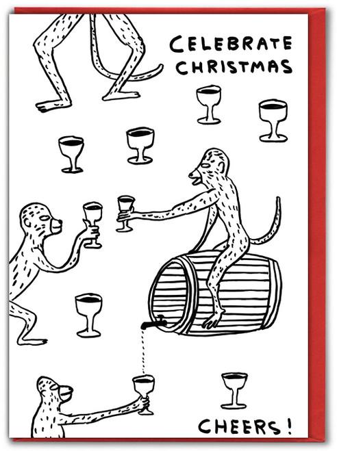 Celebrate Monkeys David Shrigley Christmas Card