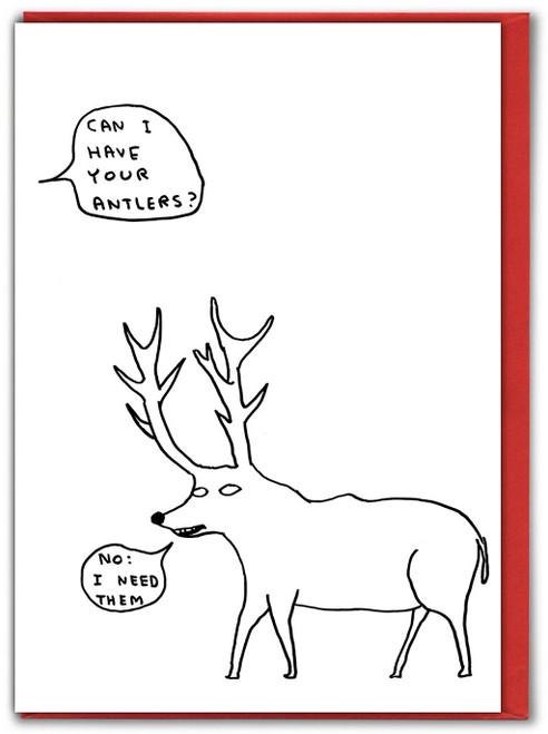 Antlers Xmas David Shrigley Christmas Card