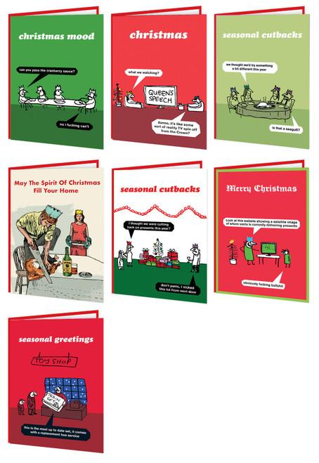7 Pack Modern Toss Christmas Cards - Seasonal Misfits One