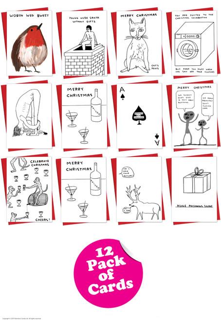 12 Pack David Shrigley Christmas Cards - Mixed Designs